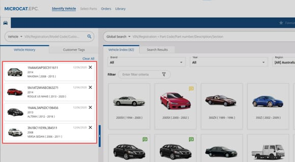 Electronic Parts Catalogue Feature - Vehicle History